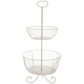 Antique White Iron Two-Tiered Basket With Handle